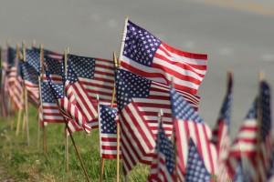 Row of USA Flags