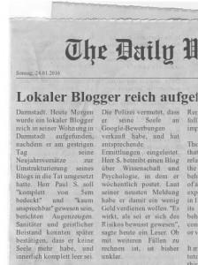 Lokaler Blogger reich aufgefunden